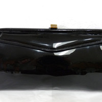 Vintage Garay Black Purse Handbag Clutch Gold Clasp