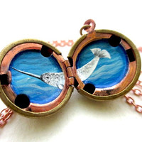 Narwhal Locket - Handpainted Miniature Ocean Necklace - Deep Blue Sea with Waves and Magical Creature