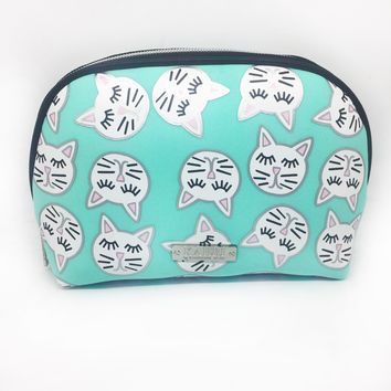 Sleepy Cat Neoprene Small Dome Cosmetic Bag
