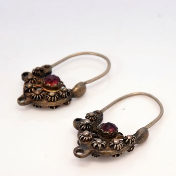 Antique Balkan Silver Earrings with Faceted Red Stone