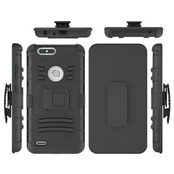 ZTE Blade Z Max Case - Two Layer Hybrid Armor Hard Cover with Built In Kickstand