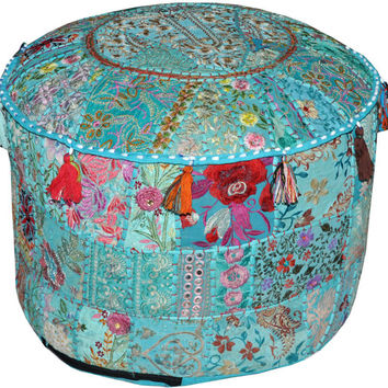 XL Bohemian Indian Pouf Ottoman Patchwork Pouf Cocktail Living Room bean bag Big Hassock Cover floor seat stool cover furniture pouffe cover
