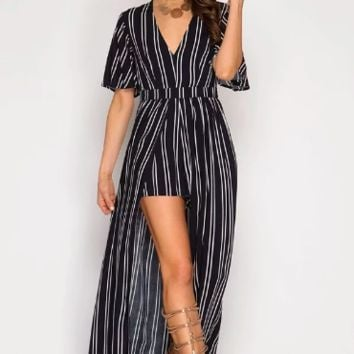 Women's Half Sleeve Striped Romper with Maxi Skirt Detail