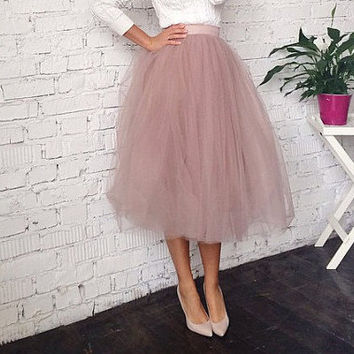 Dusty rose Tulle Skirt - Fixed Waist - Tea Length - Adult Tutu -Party skirt - Midi Skirt with Lycra Waistband - Custom Size, Made to Order