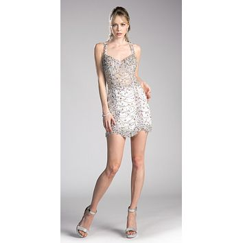 Rhinestones Embellished Short Prom Dress Off White