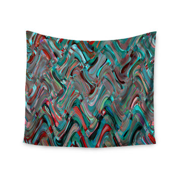 "Suzanne Carter ""Abstract Wave"" Teal Abstract Wall Tapestry"