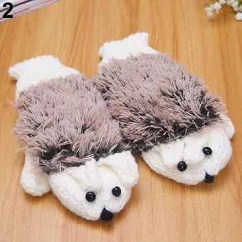 2015 Woman Erinaceus Hedgehog Winter Warm Gloves Cartoon Cotton Plush Gloves 5 Colors 9FI5