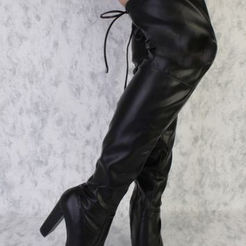 Black Round Pointy Toe Thigh High Boots Single Sole Chunky Heel Faux Leather