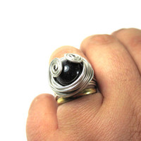 Silver Wire Wrapped Ring With Night Star Stone, Gift, For Women