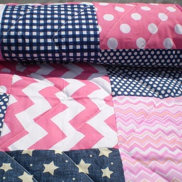 Baby girl quilt,Nautical baby quilt,Baby girl bedding,Patchwork Crib quilt,navy blue,hot pink,chevron baby blanket,polka dots,stripes,modern