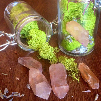 Terrarium Jar Glass Crystal Terrarium Gift for Her Raw Crystal Healing Crystals and Stones Bohemian Decor Girlfriend Gift Crystal Garden