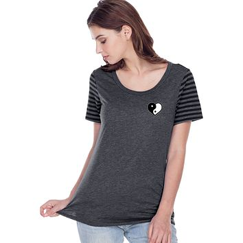 Yin Yang Heart Pocket Print Striped Multi-Contrast Tee