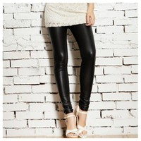 Leathered Legging in Black from DoubleLW