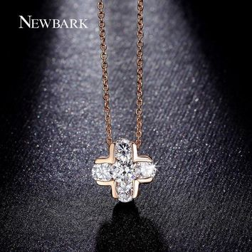 Classic Cross Design Pendant Necklaces AAA CZ Inlayed Women Necklace Rose Gold