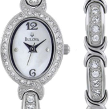 Bulova 96X109 Women's Quartz Stainless Steel Bracelet Crystal Watch and Bracelet Set
