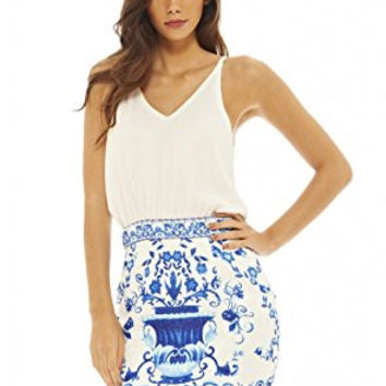 White Sleeveless Top and Vintage Print Skirt 2 in 1 Dress