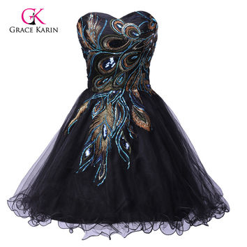 New Grace Karin Hot Designer Peacock Ball Black Short Mini Evening Prom Party Cocktail DressesCL4975