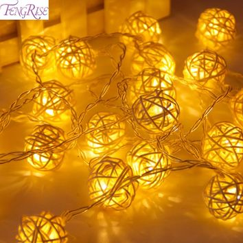 FENGRISE 2M 20 LED Rattan Ball String Fairy Lights Cotton Ball Light String Wedding Decoration Party Favors Valentines Day Decor