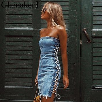 Lace Up Strapless Denim Dress Elegant Short Mini Dress Women Blue Jeans Bodycon Dresses