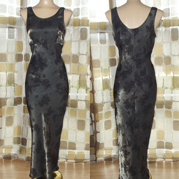 Vintage 90s Retro 30s Art-Nouveau Roses Bias Harlow Gown Metallic Pewter Formal Gatsby Dress 7/8