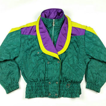90s Vintage Ski Jacket Obermeyer Puffer Coat Large Green Winter Coat