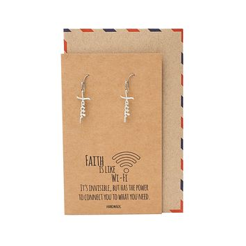 Samsara Faith Earrings, Gifts for Women with Inspirational Quote on Greeting Card
