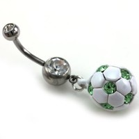 Light Green Soccer Ball Dangle Banana Belly Barbell Button Navel Rings Body Fashion Jewelry Surgical Steel 316L 14 Gauge