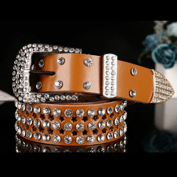 Atlas Western Cowgirl Bling Cowgirl Leather Belt The New Fashion Designed Classic Style Belt Clear Rhinestone Crystak New/BK