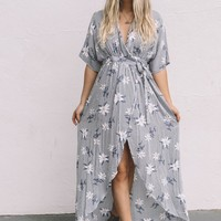 Drift Away Grey Floral Wrap Dress