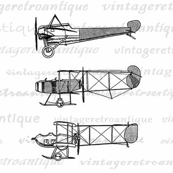 Three Airplanes Digital Printable Download Antique Plane Image Graphic Vintage Clip Art Jpg Png Eps  HQ 300dpi No.1039