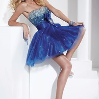 Hannah S 27729 Royal/Turq Short Dress