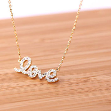 LOVE necklace in Swarovski  handwritten by bythecoco on Etsy