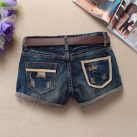 Korean Denim Shorts Summer Boot Cut Skull Stylish Jeans [4919969028]