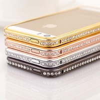 Moon Monkey Diamond Crystal Bling Aluminum Metal Bumper Hard Gold Case Cover for Iphone 5 5s (Silver)