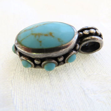 Sterling Silver Turquoise Pendant, Bali Style Vintage Pendant, Balinese Sterling Silver