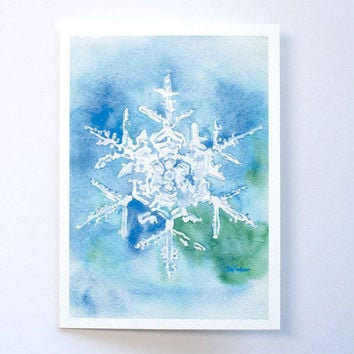 Snowflake Watercolor Christmas Card - 5 x 7 - Watercolor Painting - Holiday Card