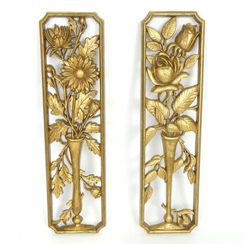 50s Vintage Gold Floral Burwood Wall Plaques - Shabby Gold Tone Mid Century Regency Cottage Chic Rose and Daisy Flower Wall Hangings Set