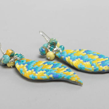 Polymer clay stylish earrings with mosaic imitation colored handmade jewelry