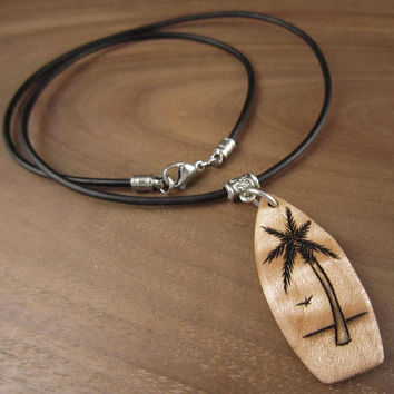 Wood Surfboard Necklace, Engraved Palm Tree Pendant, Palm Tree Necklace, Surfboard Charm, Surfboard Pendant, Beach Jewelry, Tropical Art