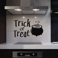 Trick or Treat Cauldron | Halloween Vinyl Decals | Holiday Decor