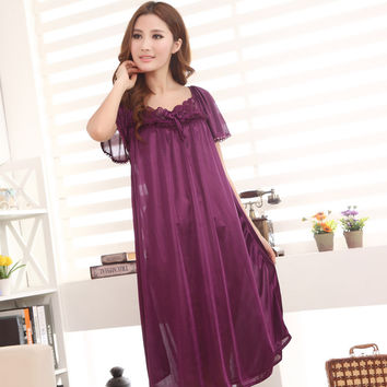 Kedatangan baru! Stylish short-sleeved long section of lace nightgown ladies , 7 colors, free home delivery