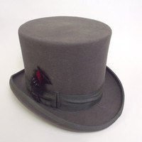 Vintage Top Hat Gray Wool XL Mad Hatter Scala Classic by robolady