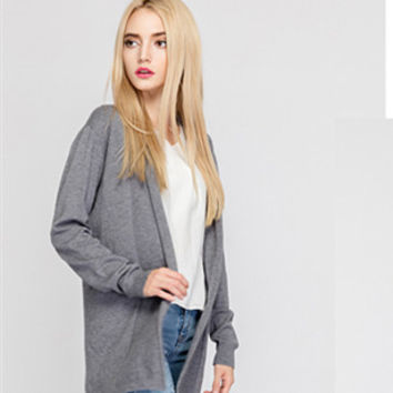 Fashion Casual Solid Color Cardigan Sweater Coat