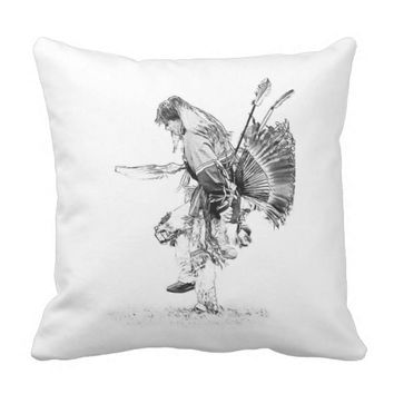 Native American Pow-wow Dancer Throw Pillow