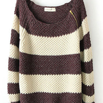 Shoulder Zip Classic Color Matching Striped Long Sleeve Sweater M