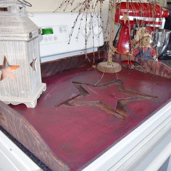 Primitive, Stove Top Board with Engraved Star, Distressed