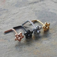 L-shaped flower Stainless steel Nose Rings one piece 4 colors to choose from