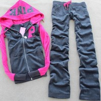 victoria s secret pink winter velvet hoodie top sweater pants trousers set two piece-1