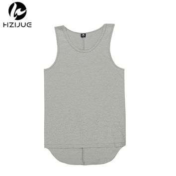 HZIJUE 2018 NEW TOP kanye  oversized Men's Tank Tops hiphop Fashion Casual solid extended curved hem vest
