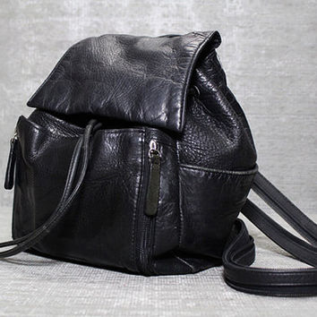 Vtg 90s Black Leather Grunge Backpack Rucksack by theindustry